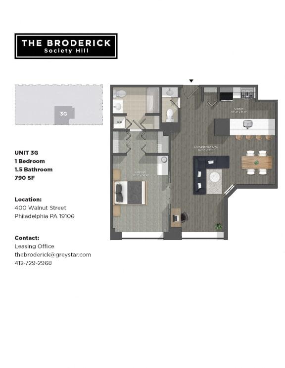 one bedroom apartment unit floorplan philadelphia