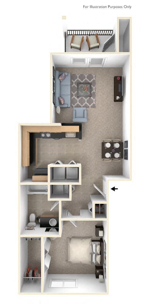 Traditional One Bedroom Floor Plan at Lynbrook Apartment Homes and Townhomes, Elkhorn, NE, 68022