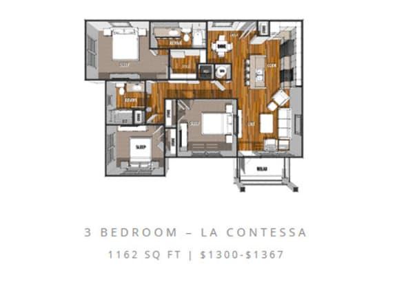 Floor Plan  Floor Plan at La Contessa Luxury Apartments, Texas, 78045