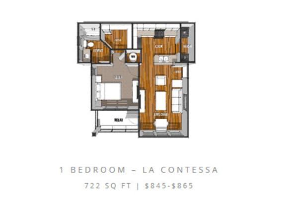 Floor Plan  Floor Plan at La Contessa Luxury Apartments, Laredo, TX 78045