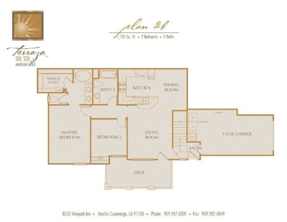 Plan 2B FloorPlan at TERRAZA DEL SOL, Rancho Cucamonga, California
