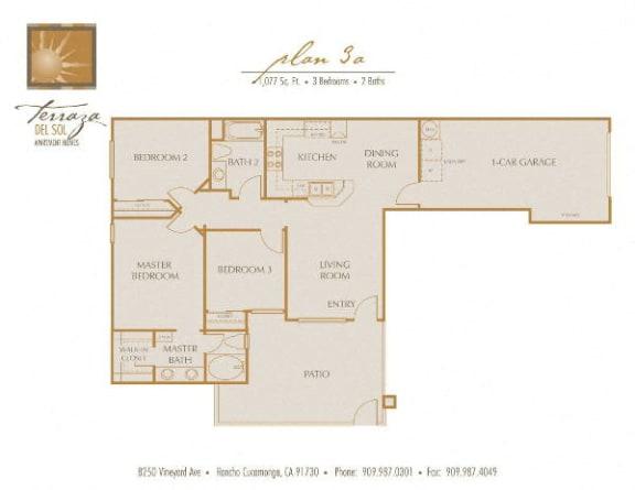 Plan 3A FloorPlan at TERRAZA DEL SOL, Rancho Cucamonga, CA, 91730
