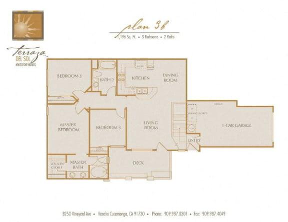 Plan 3B FloorPlan at TERRAZA DEL SOL, Rancho Cucamonga, 91730