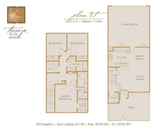Plan 3T FloorPlan at TERRAZA DEL SOL, Rancho Cucamonga