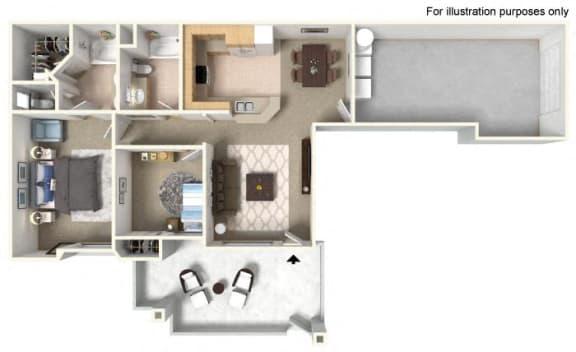 Plan 2A FloorPlan 3D at TERRAZA DEL SOL, Rancho Cucamonga, CA, 91730