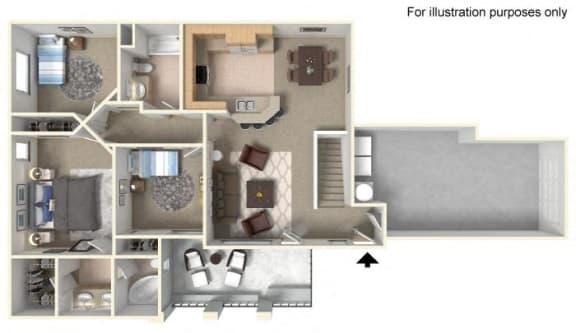 Plan 3B FloorPlan 3D at TERRAZA DEL SOL, Rancho Cucamonga, CA