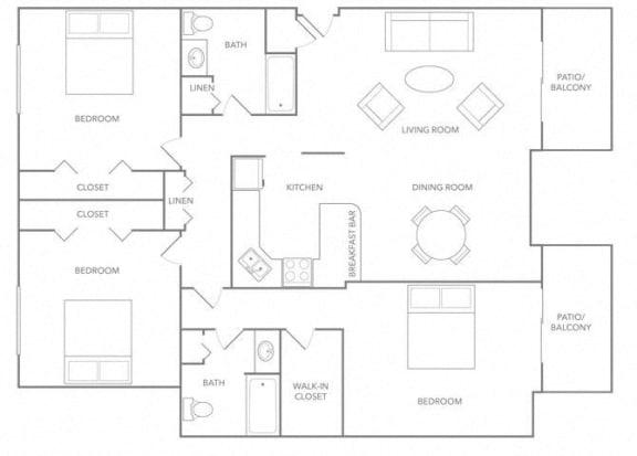 Floor Plan  3 BR Floor plan at Paradise Palms, Phoenix, AZ