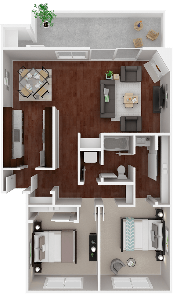 Parkside Apartments_San Anselmo CA_Floor Plan_The Marin_Two Bedroom One Bathroom