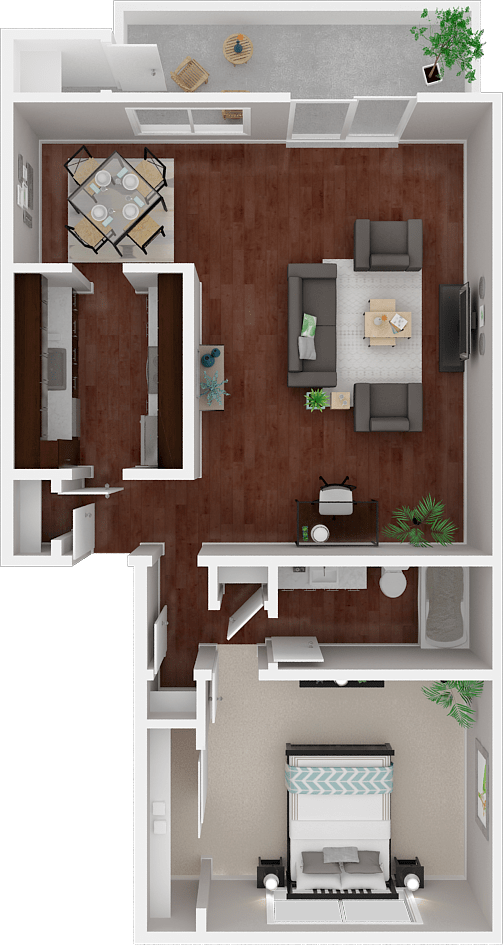 Parkside Apartments_San Anselmo CA_Floor Plan_The Mendocino_One Bedroom One Bathroom