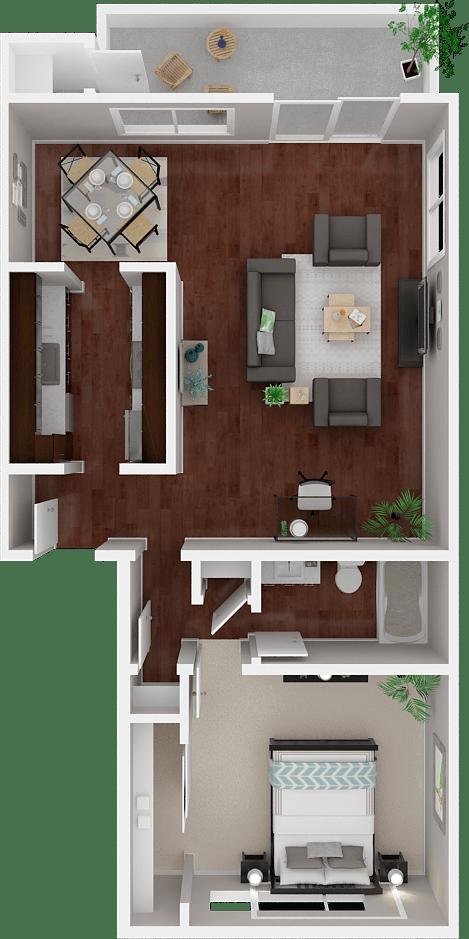 Parkside Apartments_San Anselmo CA_Floor Plan_The Sonoma_One Bedroom One Bathroom