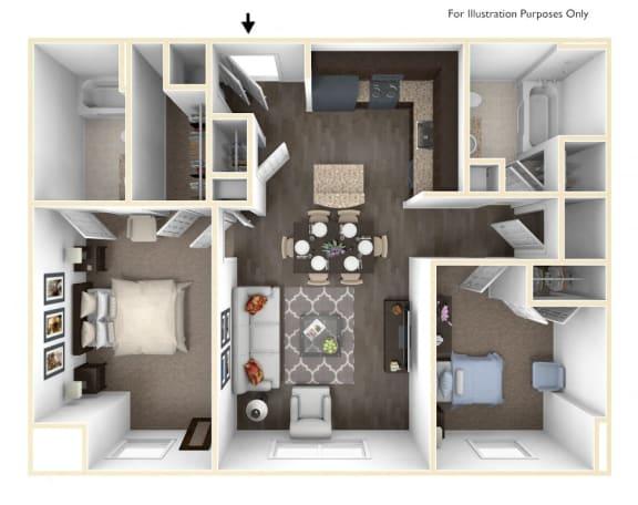 Floor Plan  Merritt Station 2 Bedroom Gunpowder 3D Floor Plan