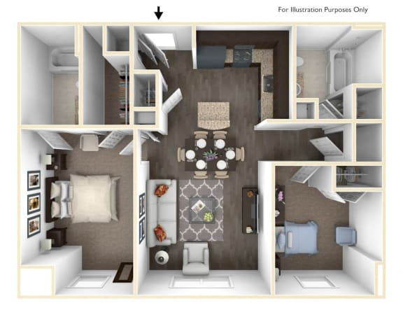 Floor Plan  Merritt Station 2 Bedroom Seneca 3D Floor Plan