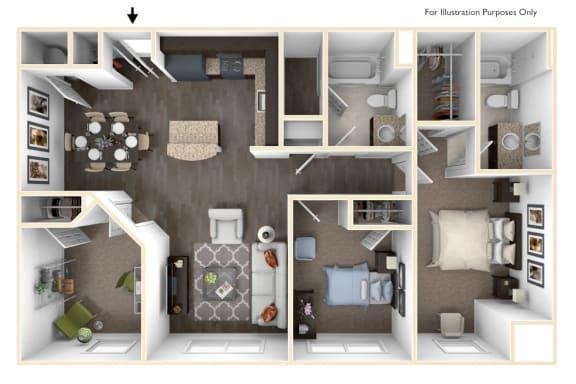 Floor Plan  Merritt Station 3 Bedroom Potomac 3D Floor Plan
