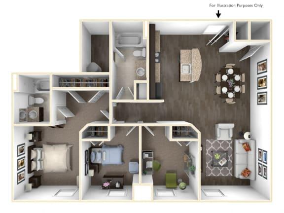 Floor Plan  Merritt Station 3 Bedroom Patapsco 3D Floor Plan