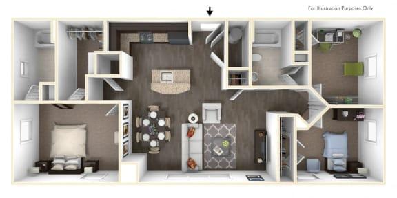 Floor Plan  Merritt Station 3 Bedroom Chesapeake 3D Floor Plan