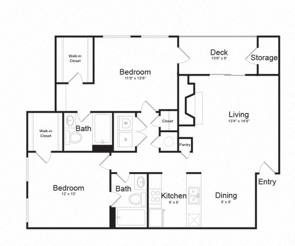 Floor Plan  Two Bed Two Bath Floor plan at The Madison at Eden Brook, Columbia, Maryland