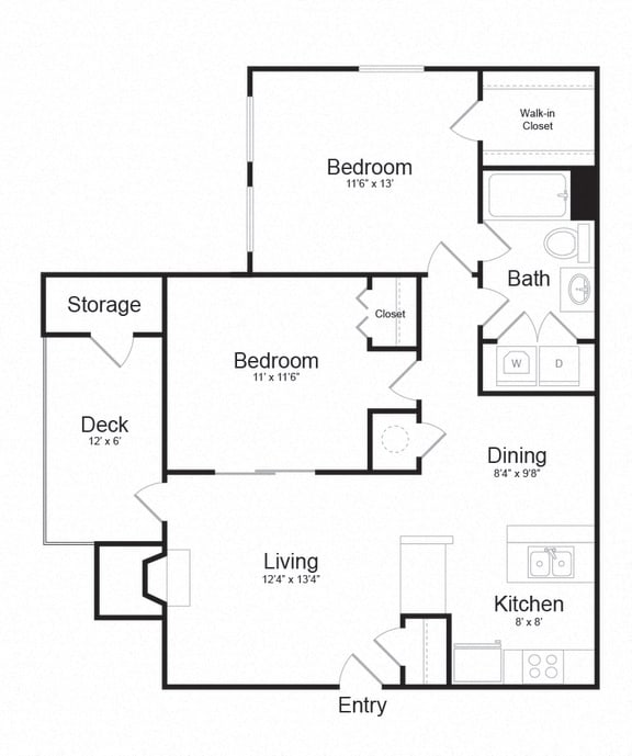 Floor Plan  Two Bed One Bath Floor plan at The Madison at Eden Brook, Columbia, 21046