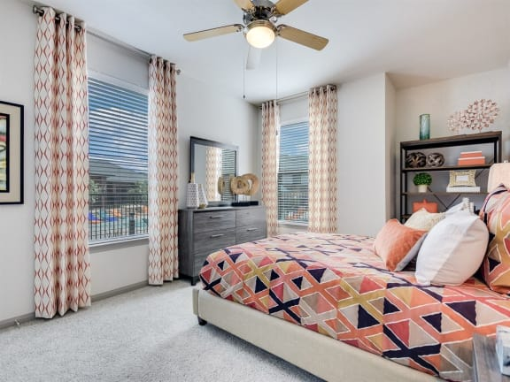 Beautiful Bright Bedroom With Wide Windows at The Emerson, Pflugerville, Texas