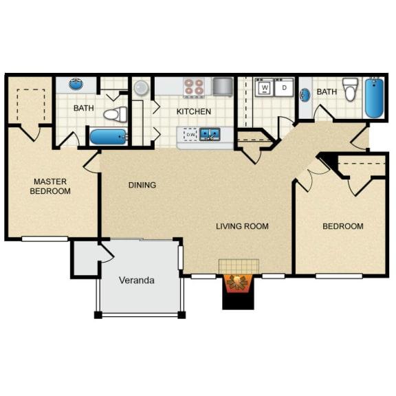 2 Bed 2 Bath 2 Bedroom C Floor Plan at Thorncroft Farms Apartments, Hillsboro, Oregon