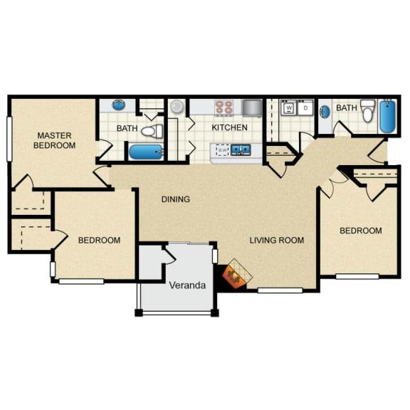 3 Bed 2 Bath 3 Bedroom A Floor Plan at Thorncroft Farms Apartments, Oregon, 97124
