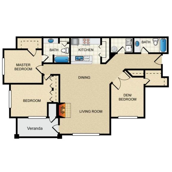 3 Bed 2 Bath 3 Bedroom B Floor Plan at Thorncroft Farms Apartments, Oregon, 97124
