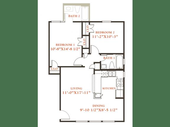 Chestnut floor plan, 2 bedrooms 2 baths, 850 sqaure feet at Britain Way Apartments
