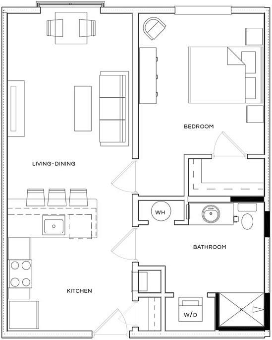 1 Bed/1 Bath A1 F Floor Plan at The Royal Athena, Bala Cynwyd, Pennsylvania