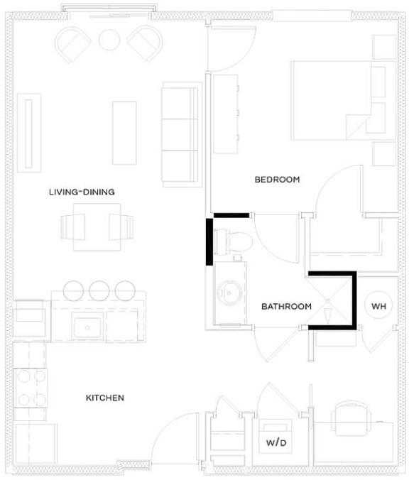 1 Bed/1 Bath A3 Floor Plan at The Royal Athena, Pennsylvania