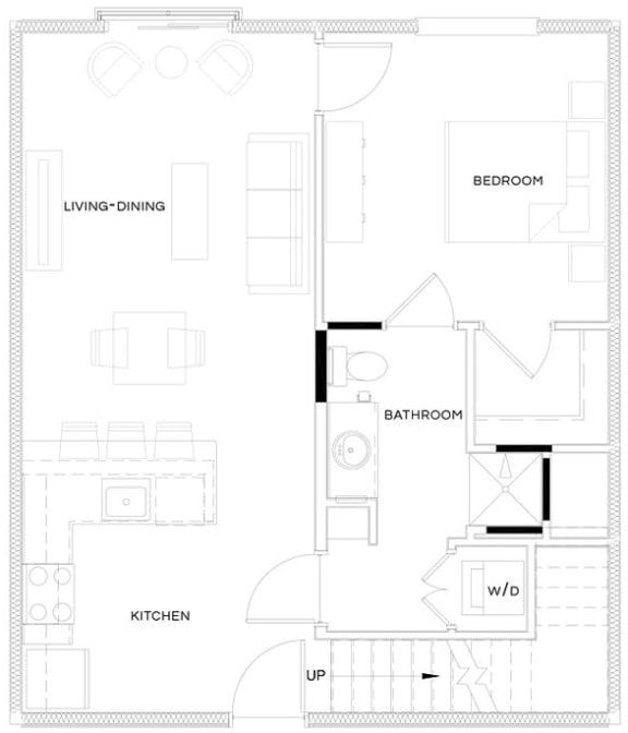 1 Bed/1 Bath Loft A3 Floor Plan at The Royal Athena, Bala Cynwyd, 19004