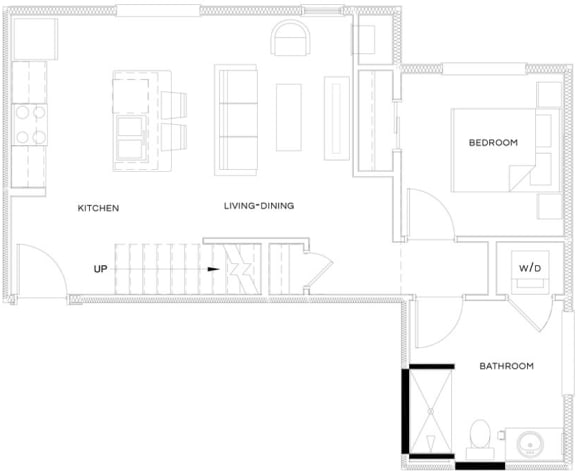 1 Bed/1 Bath Loft A4 L Floor Plan at The Royal Athena, Bala Cynwyd, PA