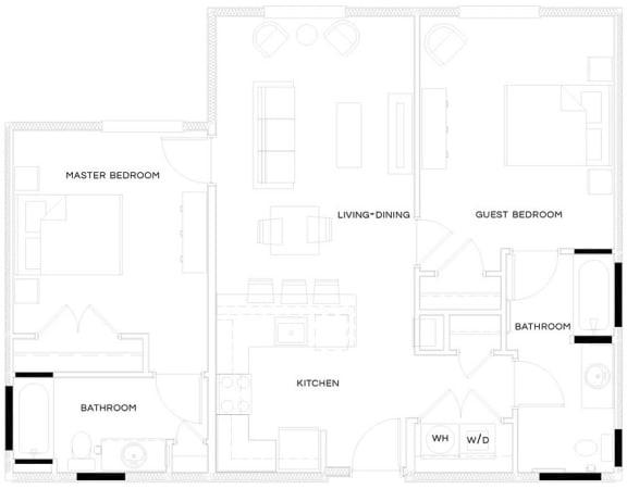 2 Bed/2 Bath B1 Floor Plan at The Royal Athena, Bala Cynwyd