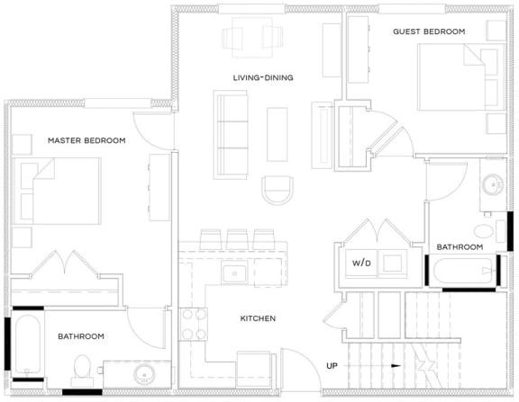 2 Bed/2 Bath Loft B1 Floor Plan at The Royal Athena, Bala Cynwyd, PA