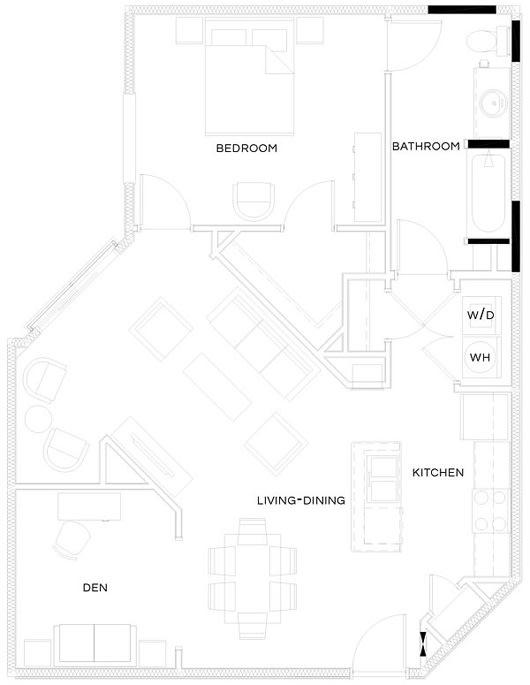 1 Bed/1 Bath Den Floor Plan at The Royal Athena, Bala Cynwyd, PA, 19004