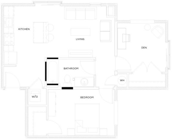 1 Bed/1 Bath B4 Floor Plan at The Royal Athena, Bala Cynwyd, 19004