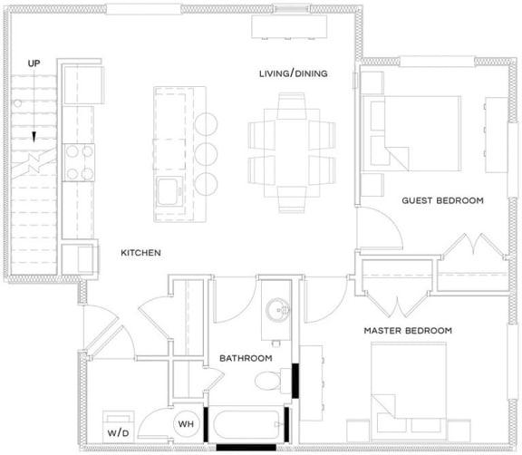 2 Bed/1 Bath Loft Floor Plan at The Royal Athena, Pennsylvania