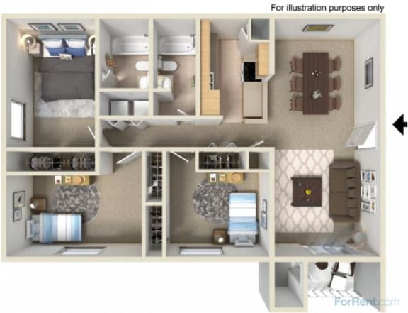 Creekside Apartments 3 bedroom floor plan