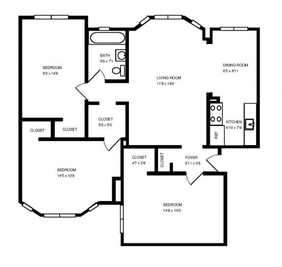 Three bedroom apartment home at 1033 W Loyola