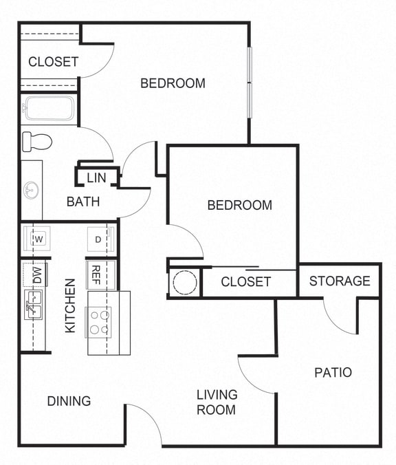 Floor Plan  2 bedroom 1 bathroom 800 square foot B1 floorplan at Forest Creek Apartments in Houston, TX