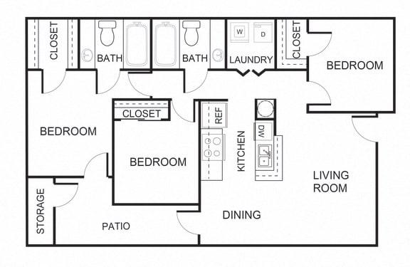 Floor Plan  3 bedroom 2 bathroom C1 floorplan at Forest Creek Apartments in Houston, TX