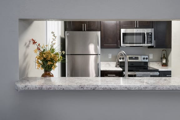 Kitchen with Peek Through with Granite Countertops and Stainless Steel Appliances