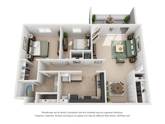 954 sq.ft. Two Bed One Bath