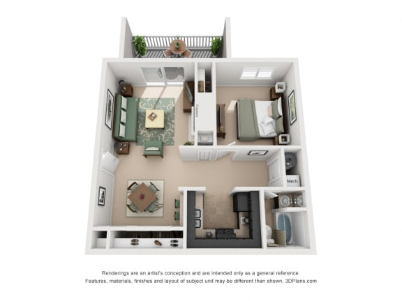 654 sq.ft. One Bed One Bath