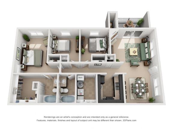 1252 sq.ft. Three Bed Two Bath