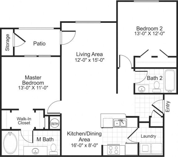 Floor Plan  B1 2 bedroom 2 bathroom floorplan at Falls Pointe at the Park Apartments in Durham, NC