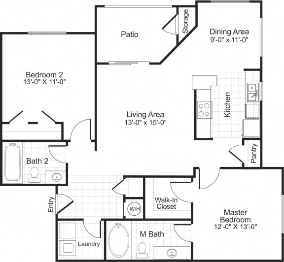 Floor Plan  B2 2 bedroom 2 bathroom floorplan at Falls Pointe at the Park in Durham, NC