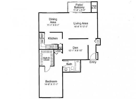 Floor Plan  One bedroom one bathroom A3 Floorplan at Oakfield Apartment Homes in Wheaton, MD
