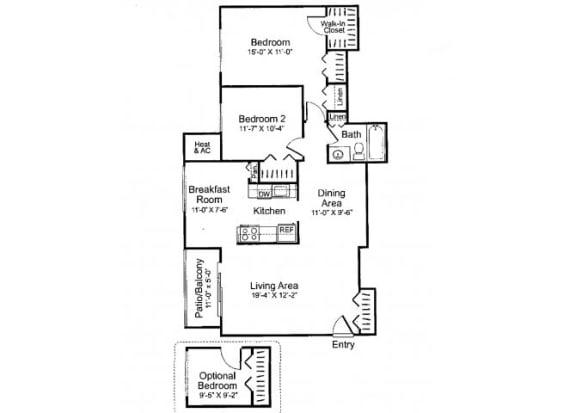 Floor Plan  Three bedroom one bathroom C1 Floorplan at Oakfield Apartment Homes in Wheaton, MD