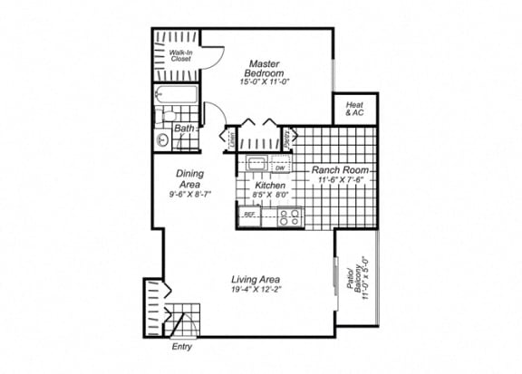 Floor Plan  One bedroom one bathroom A1 Floorplan at Oakfield Apartment Homes in Wheaton, MD