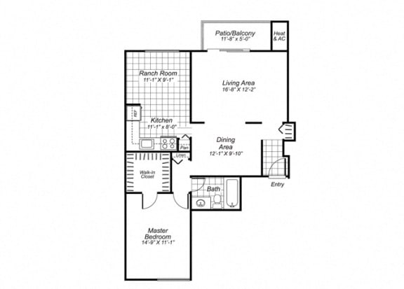 Floor Plan  One bedroom one bathroom A2 Floorplan at Oakfield Apartment Homes in Wheaton, MD