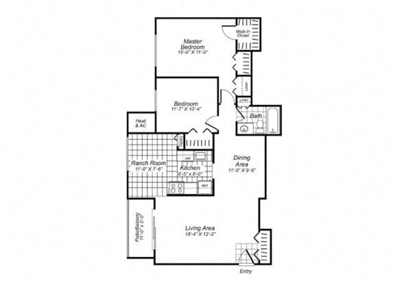 Floor Plan  Two bedroom one bathroom B3 Floorplan at Oakfield Apartment Homes in Wheaton, MD